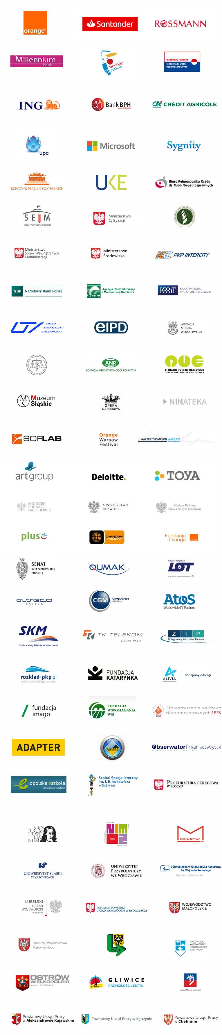 Loga firm, z którymi współpracowała Fundacja Widzialni (wersja tekstowa powyżej)